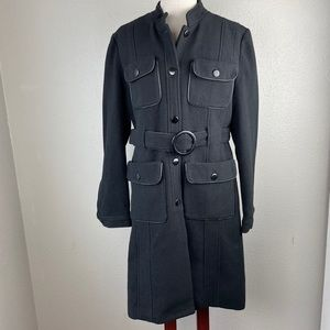 NWT Dollhouse Black Belted Overcoat Size XL